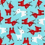 Jingle Aqua Holiday Reindeer Yardage