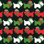 Jingle Black Winter Scotties Yardage