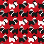 Jingle Red Winter Scotties Yardage