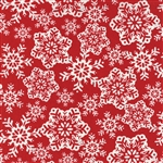 Be Jolly Red Falling Snowflakes Yardage
