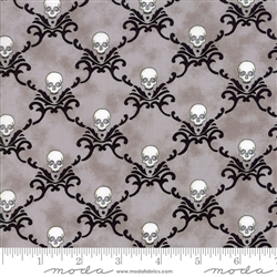 Eerily Elegant Wicked Grey Skull Trellis Yardage