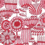 Just Another Walk In The Woods Red on Cream Funny Flower Yardage