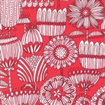 Just Another Walk In The Woods Red Funny Flower Yardage