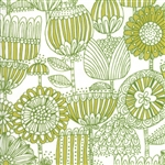 Just Another Walk In The Woods Green on Cream Funny Flower Yardage