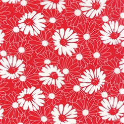 Weeds Floral Daisy Flower Red Yardage