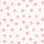 Red Dot Green Dash Red on Winter White Snowflakes Dots Yardage