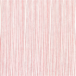 Red Dot Green Dash Red on Winter White Holiday Stripe  Yardage
