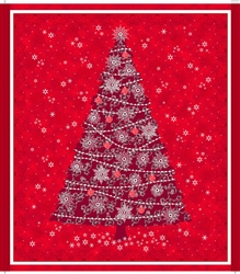 Celebrate the Season Red Christmas Tree Quilt Panel
