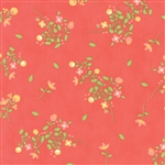 Sundrops Dark Coral Blossoms Yardage