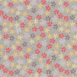 Lulu Lane Grey Pansies Yardage