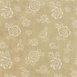 Black Tie Affair Cream on Tan Whimsy Floral Yardage