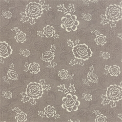 Black Tie Affair Cream on Grey Whimsy Floral Yardage