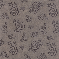 Black Tie Affair Black on Grey Whimsy Floral Yardage