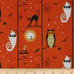 Cheeky Wee Pumpkins Owls/Cats in Trees Orange