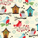 Jingle Birds Cream Bird Houses Yardage