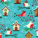 Jingle Birds Bluebird Bird Houses Yardage