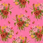 Sleeping Porch Pink Wild Flowers Cotton Lawn Yardage