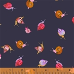 Sleeping Porch Indigo Snails Cotton Lawn Yardage
