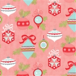 Vintage Holiday Pink Vintage Ornaments Flannel 55160-14F