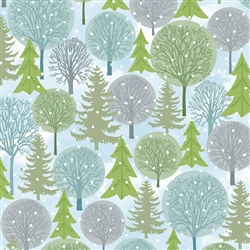 Holiday Cheer Blue Trees Yardage