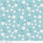 Vintage Happy Blue Leaf Yardage