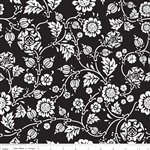 Rosecliff Manor Vine Black Yardage