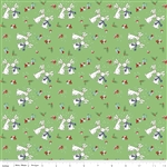 Pixie Bunnies Green Yardage