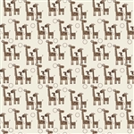 Giraffe Crossing 2 Giraffes Brown Yardage