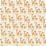 Giraffe Crossing 2 Giraffes Orange Yardage