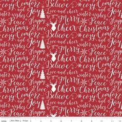 Comfort and Joy Red Words Yardage