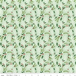 Comfort and Joy Light Green Foral Yardage