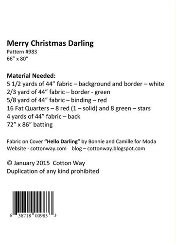 Cotton Way Merry Christmas Darling Quilt Pattern