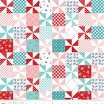 Country Girls Patchwork Aqua Yardage