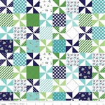 Country Girls Patchwork Navy Yardage