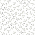 Fog City Kitty Pewter Tossed Cherries Yardage