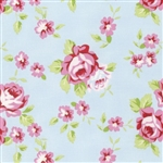 Rambling Rose Happy Rose Yardage - Blue