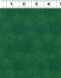 Not Even A Mouse Green Snowflake Print Yardage