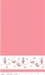 Butterfly Dance Border Pink Yardage