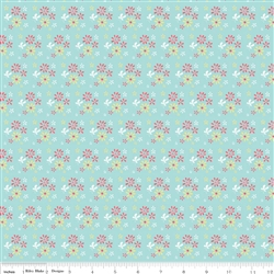 Butterfly Dance Flowers Blue Yardage