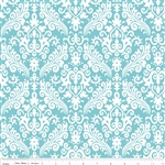 Hollywood Medium Damask White on Aqua Flannel