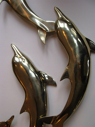 Bijan Bijan large Dolphins wall Sculpture - Signed on every Dolphin