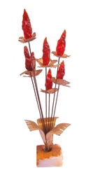 Vintage metal sculpture Bijan RED RESIN Metal Sculpture Flower