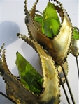 Bijan rare vintage Green RESIN Metal Sculpture Flower, colorful like stained glass as the light shines through it.