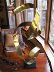 Vintage metal sculpture brass ribbon
