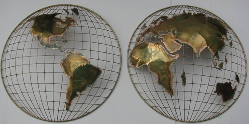 C. Curtis Jere 1983 - Vintage Double Globe Wall Art - Signed