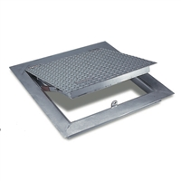 The Acudor FA-300 H20 series aluminum floor access doors are designed for interior and exterior applications where water tightness is not required.  The angle frame construction with integral anchor flange is designed to cast into concrete.  The