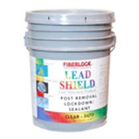 Lead Shield -Post Removal Lockdown is a water based 100% acrylic lockdown with a dual purpose; it binds residual lead-based paint and dust present after removal; and accepts most topical coverings. The clear version of this product sprays on white and