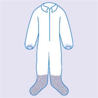 TY122SWH Dupont Tyvek Protective Coverall, Zipper Front, Attached Hood, & Coated Boots, Elastic Wrists.  White - Case of 25 DuPont Tyvek is a unique, non-woven material made of high-density polyethylene filaments that are spunbonded together by heat and