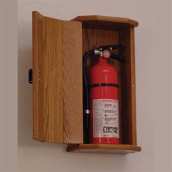 Oak Fire Extinguisher Cabinets - Wooden, Surface mount fire extinguisher cabinet allows you to hide an unsightly extinguisher in plain sight for safety.  These high quality cabinets feature solid construction.  Contemporary engraving or acrylic door panel