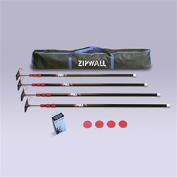 ZipWall ZP4 Economy telescopic Poles, Each ZP4 package contains 4 ZipTMPoles a head, plate, tether, and GripDisk for each pole, 1 Carry Bag and 1 box of 2 Standard Zippers.